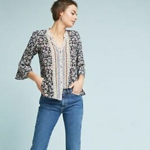 Anthropologie Silk Button Down Floral Print Blouse